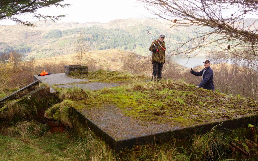 November 2017: Cutting back heavy undergrowth at the World War 2 'decoy village' bunker.