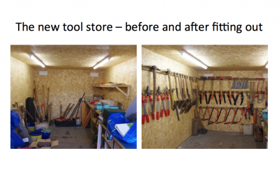September 2018: Tool store tidied up!