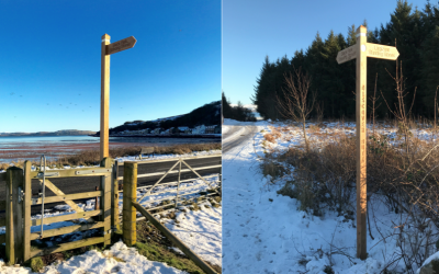 February 2019: New fingerposts at Kilchattan Bay and other paths